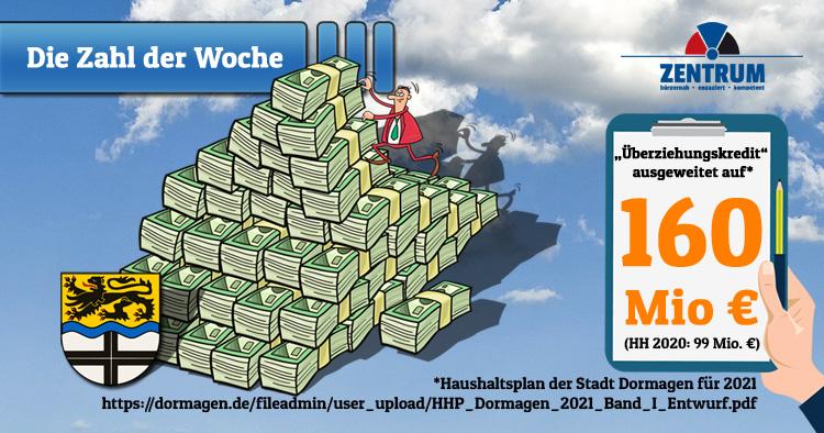 Rot-Grün in Dormagen erhöht Überziehungskredit massiv auf 160 Mio Euro Schulden