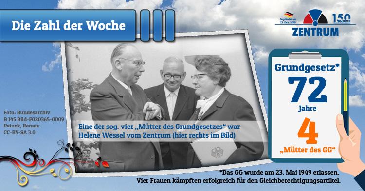 72 Jahre Grundgesetz - Helene Wessel vom Zentrum setzte sich für den Gleichberechtigungsartikel ein