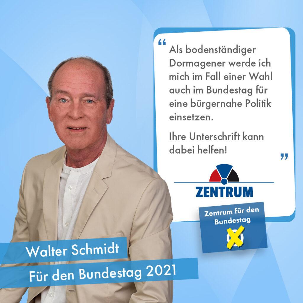 Walter Schmidt Kandidat des Zentrums Dormagen Bundestagswahl 2021